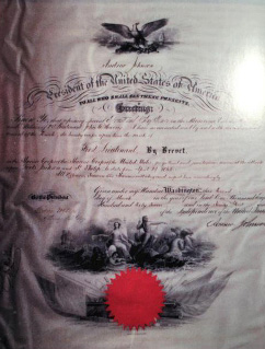 US Marine Corps Brevet Medal Document